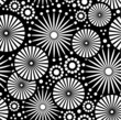 Folk Simple black and white Seamless pattern retro flowers