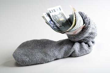 Euro-Scheine im Strumpf