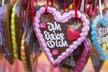 Lebkuchen herz, close-up