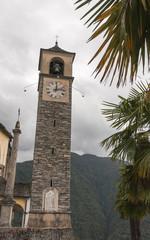 Mergoscia, Dorf, Kirchturm, Valle Verzasca, Tessin, Schweiz