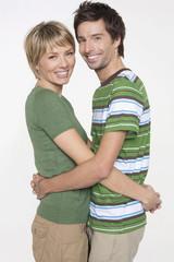 Porträt junges Paar, Lächeln, Seitenansicht