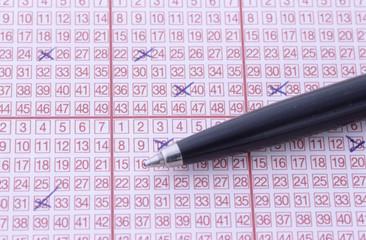 Markierungen auf Lottoschein