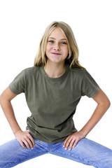 Mädchen Teenager ziehen Gesicht, Portrait