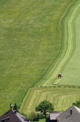 Traktor beim Heu mähen