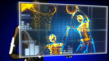 basketball game player on hologram