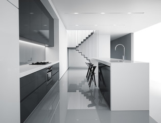 Contemporary minimal white and dark grey kitchen