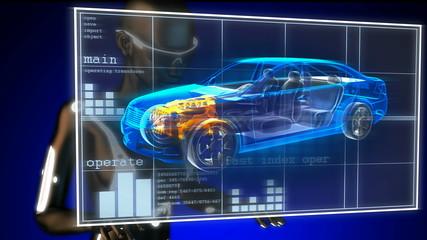 transparent car concept on hologram