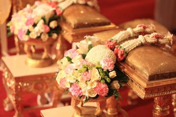Flower bouquet  and  jasmine garland for Thai wedding