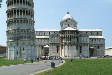Pisa, Italy, 18 July 2006: Tourists visiting the leaning Tower a