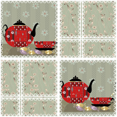 Patchwork seamless pattern with cup and pot