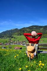 Wandern, Rast, Berge, Dorf