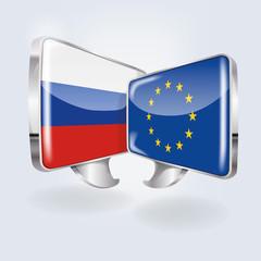 Sprechblasen mit Russland und Europa