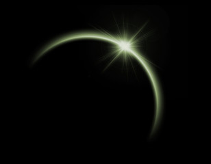 Solar eclipse in green color