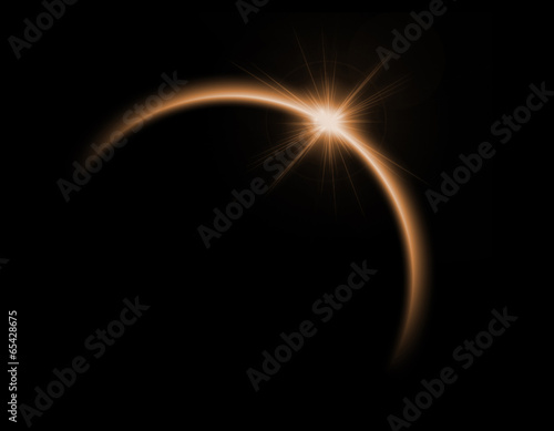 Zdjęcia na płótnie, fototapety, obrazy : Solar eclipse in orange color
