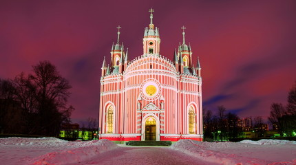 Cesme Gothic church in St. Petersburg at night lighting