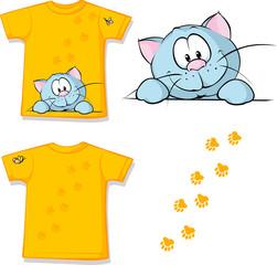 kid shirt with cute cat peeking printed