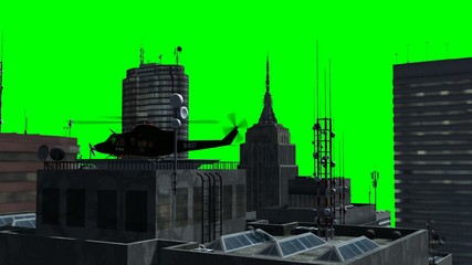 helicopter on skyscraper - tracking shot - Green screen