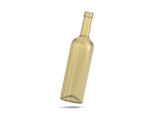 Weinflasche beige schwebend Kappe offen