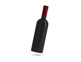 Weinflasche schwarz schwebend Kappe rot