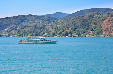 Passenger ship on Lake Worth. Austria