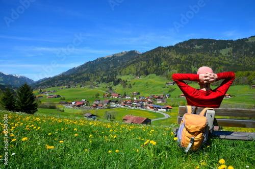 canvas print picture Wandern, Urlaub, Berge, Rast