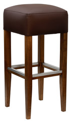 Brown upholstered barstool