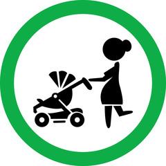 Круглый векторный знак с изображением  женщины с коляской