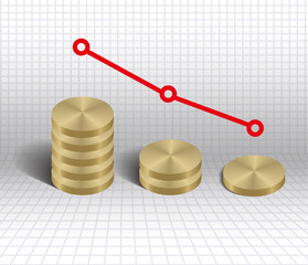 Economic decrease graph gold coins  vector illustration