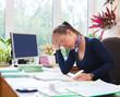 Portrait of teacher woman working in classroom