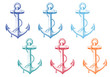 vintage anchor with rope, vector set - 65433660