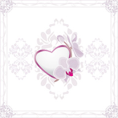 Ornamental frame with heart and blooming orchids