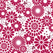 Retro Vector floral background - seamless pattern in red