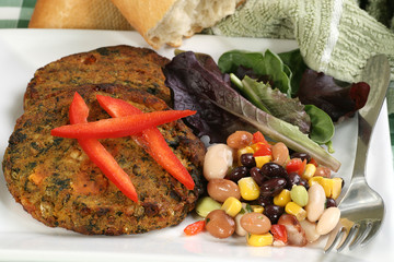 vegetarian lentil and spinach burgers