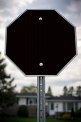 Blank Octagonal Stop-Sign Shaped Black Sign