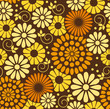 Retro Vector floral background - seamless pattern in brown