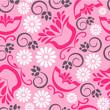 Vintage floral background seamless pattern in pink