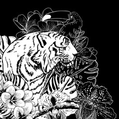 Tropical Exotic Floral Background with Tiger