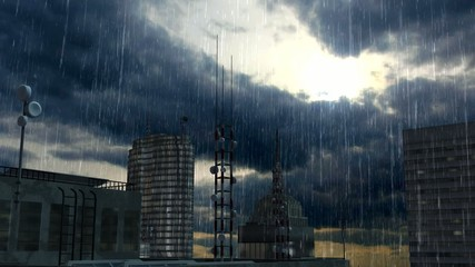 helicopter on skyscraper in case of rain and storm