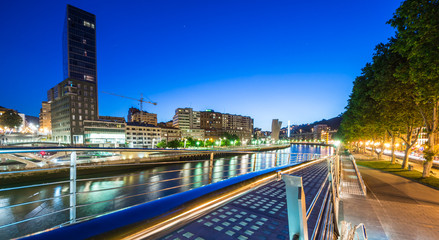 night view of Bilbao