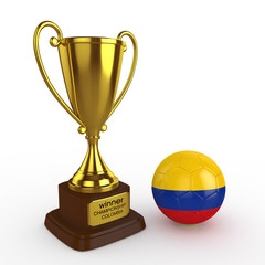 3d Colombia Soccer Cup and Ball - isolated