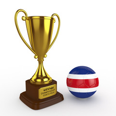 3d Costa Rica Soccer Cup and Ball - isolated