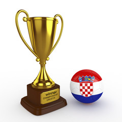 3d Croatia Soccer Cup and Ball - isolated