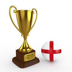 3d England Soccer Cup and Ball - isolated