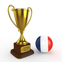 3d France Soccer Cup and Ball - isolated
