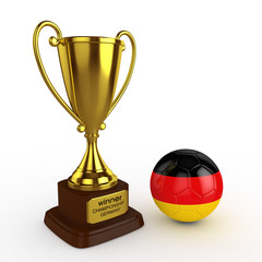 3d Germany Soccer Cup and Ball - isolated