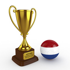 3d Netherlands Soccer Cup and Ball - isolated