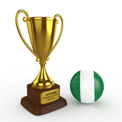 3d Nigeria Soccer Cup and Ball - isolated