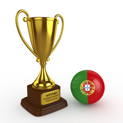 3d Portugal Soccer Cup and Ball - isolated