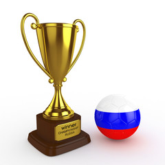 3d Russia Soccer Cup and Ball - isolated