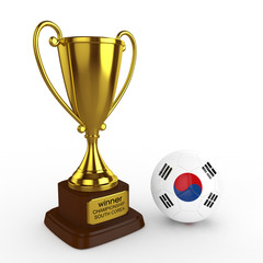 3d South Korea Soccer Cup and Ball - isolated